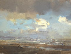 Seascape Fascinating Creamy White Clouds, Roos Schuring, 21st Century