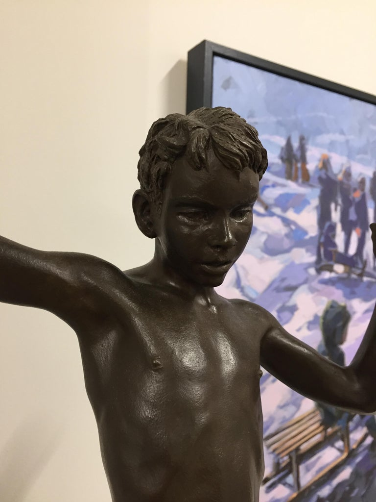 Tollit, 21st Century Contemporary Bronze Sculpture of a nude boy For Sale 2