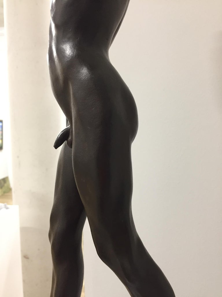 Tollit, 21st Century Contemporary Bronze Sculpture of a nude boy For Sale 5