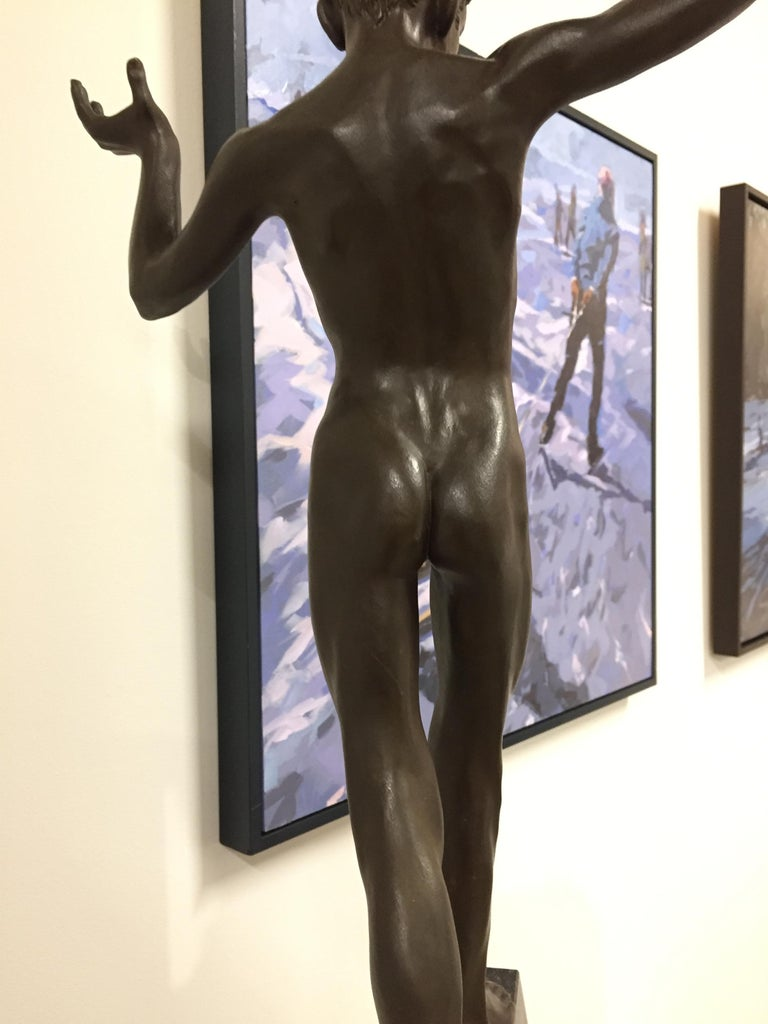 Tollit, 21st Century Contemporary Bronze Sculpture of a nude boy For Sale 7