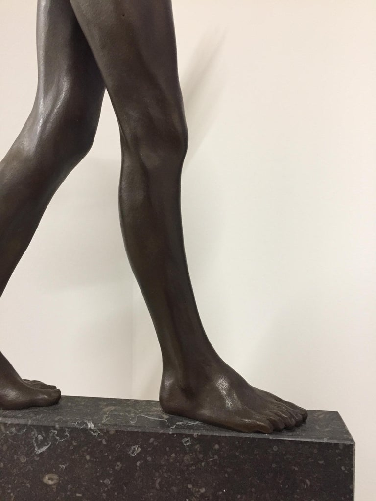 Tollit, 21st Century Contemporary Bronze Sculpture of a nude boy For Sale 9