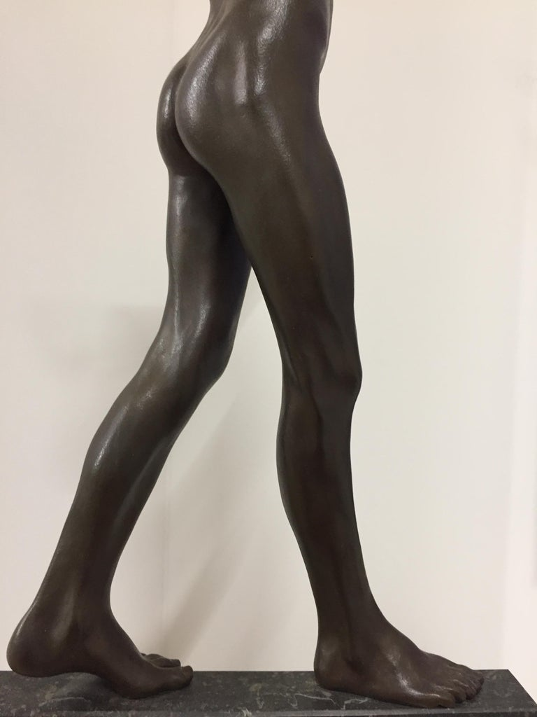 Tollit, 21st Century Contemporary Bronze Sculpture of a nude boy For Sale 10