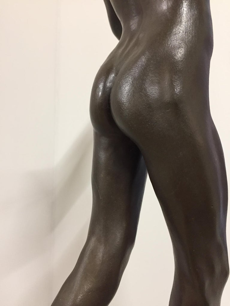 Tollit, 21st Century Contemporary Bronze Sculpture of a nude boy For Sale 11