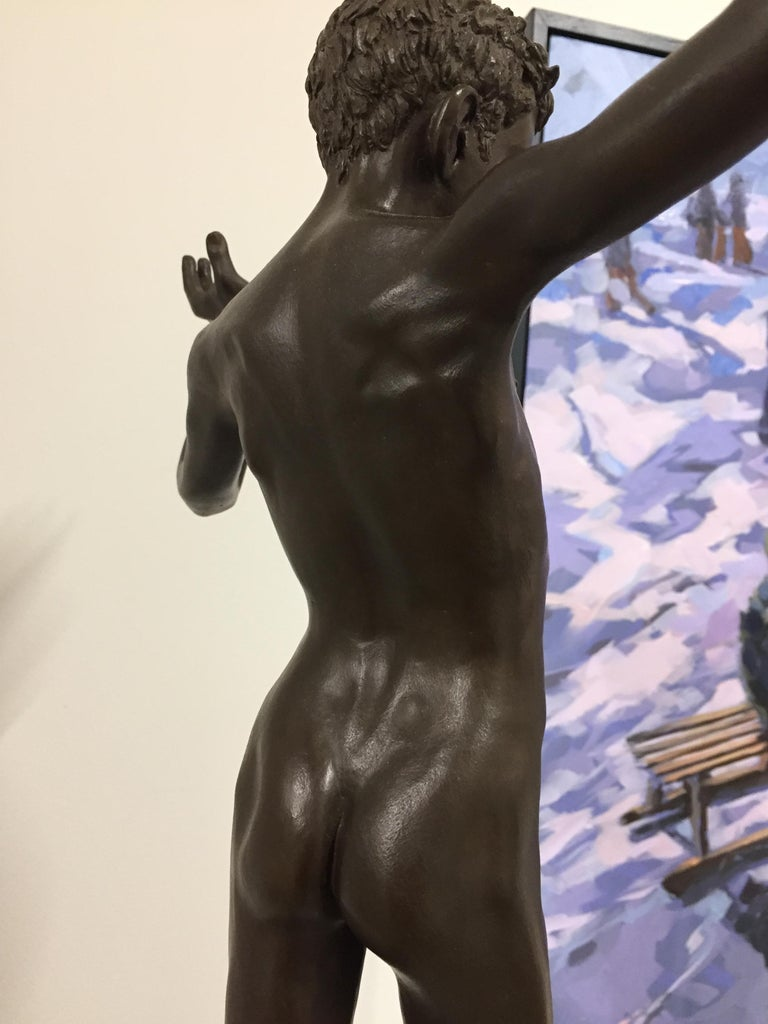 Tollit, 21st Century Contemporary Bronze Sculpture of a nude boy For Sale 12