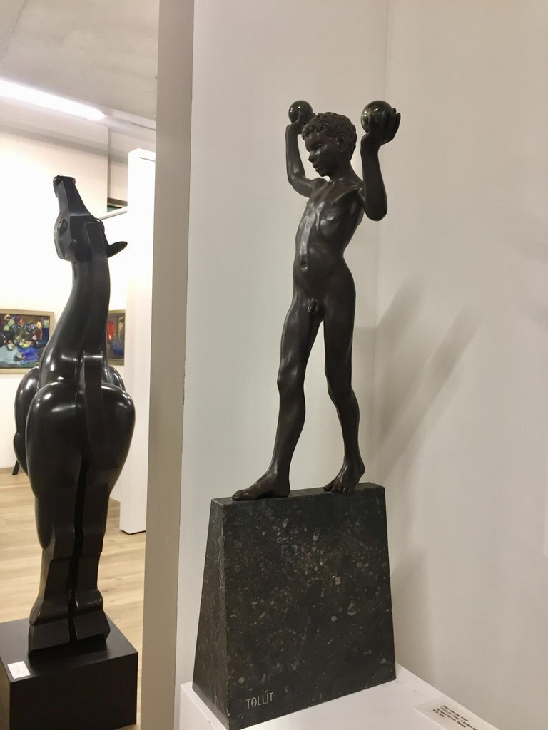 Tollit, 21st Century Contemporary Bronze Sculpture of a nude boy For Sale 14