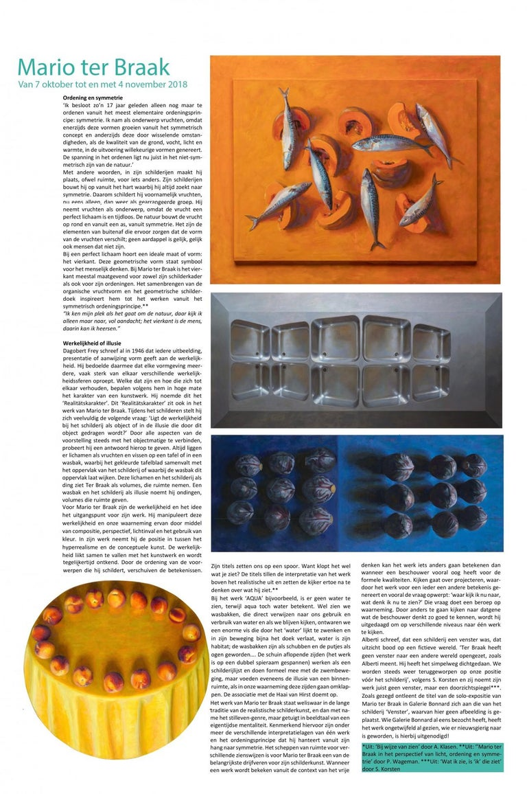 7 (seven) Fishes and One Pumpkin-21st Century Contemporary Still-life Painting For Sale 2