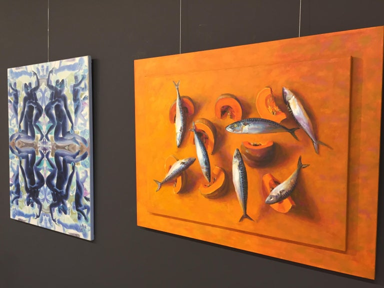 7 (seven) Fishes and One Pumpkin-21st Century Contemporary Still-life Painting - Orange Still-Life Painting by Mario ter Braak