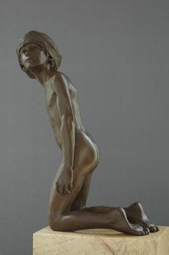 Respectus- 21st Century Contemporary Bronze Sculpture Nude Boy Wim van der Kant