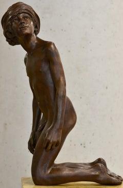 Respectus- 21st Century Contemporary Bronze Sculpture Nude BoyWim van der Kant