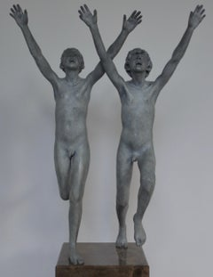 Cursus- 21st Century Contemporary Bronze Sculpture of Two Nude Running Boys