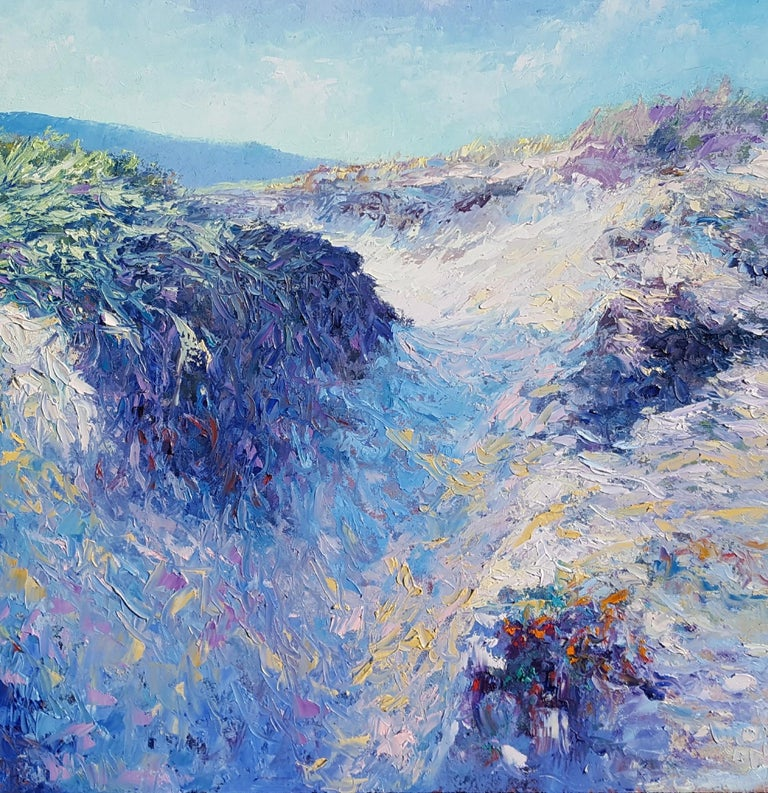 Dunes at the North Sea-  - Blue Figurative Painting by Ronald Soeliman