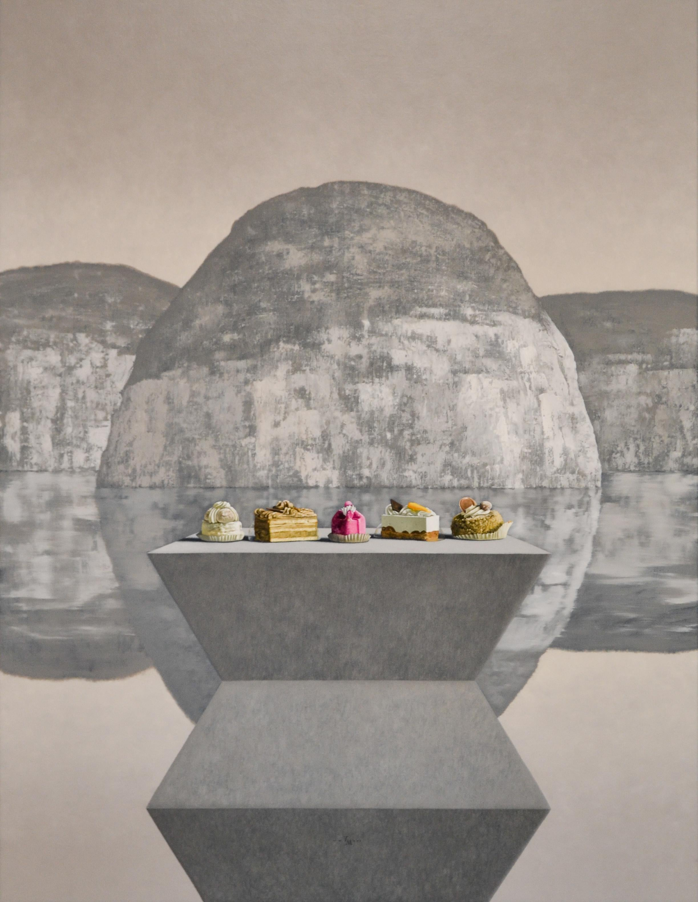 Brancusi meets Thiebaud- 21st Century Contemporary Still-life Landscape Painting