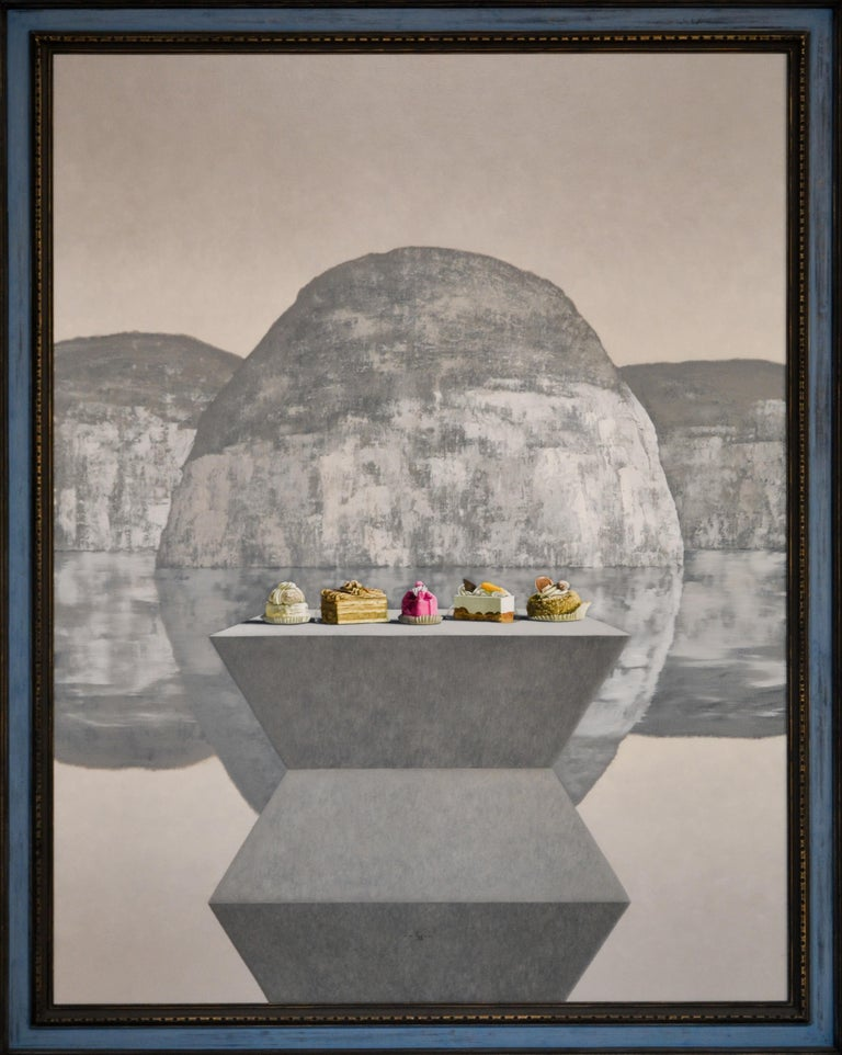 Brancusi meets Thiebaud- 21st Century Contemporary Still-life Landscape Painting - Gray Still-Life Painting by Victor Muller
