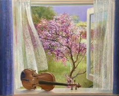 Violin in the Window, View on Japanese Kerd- 21st Century Contemporary Painting