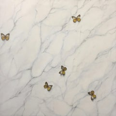It Just Feels Right- 21st Century Contemporary Painting of Butterflies on Marble