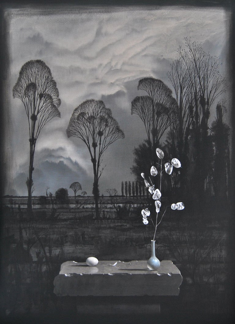 Melencolia - Victor Muller, 21st Century Contemporary Oil Painting - Black Landscape Painting by Victor Muller