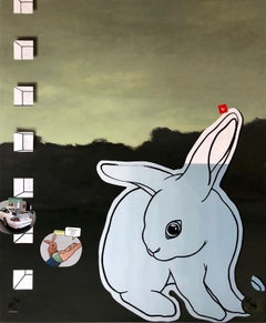 Relativity Reality and Rabbits, I Love You- 21st Century Contemporary Painting