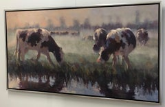 Dutch Cows- 21st Century Contemporary Dutch Landscape Painting with Cows