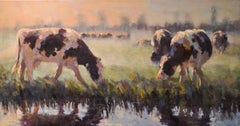 Dutch Cows- 21st Century Contemporary Dutch Landscape Painting with Cows