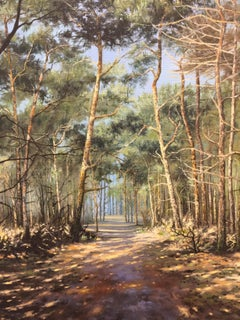 Dutch Forest with Sun and Trees - 21st Century Contemporary Landscape Painting