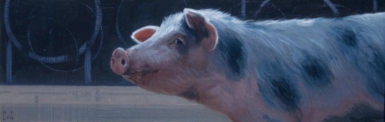 Hinke Posthuma Figurative Painting - Piggy- 21 st Century Contemporary Painting of a Pig