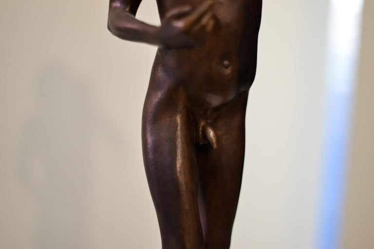 Aestus- 21st Century Bronze Sculpture of a Young Nude Boy with a Shell For Sale 5