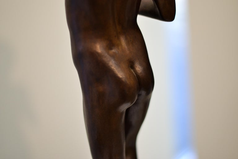 Aestus- 21st Century Bronze Sculpture of a Young Nude Boy with a Shell For Sale 9