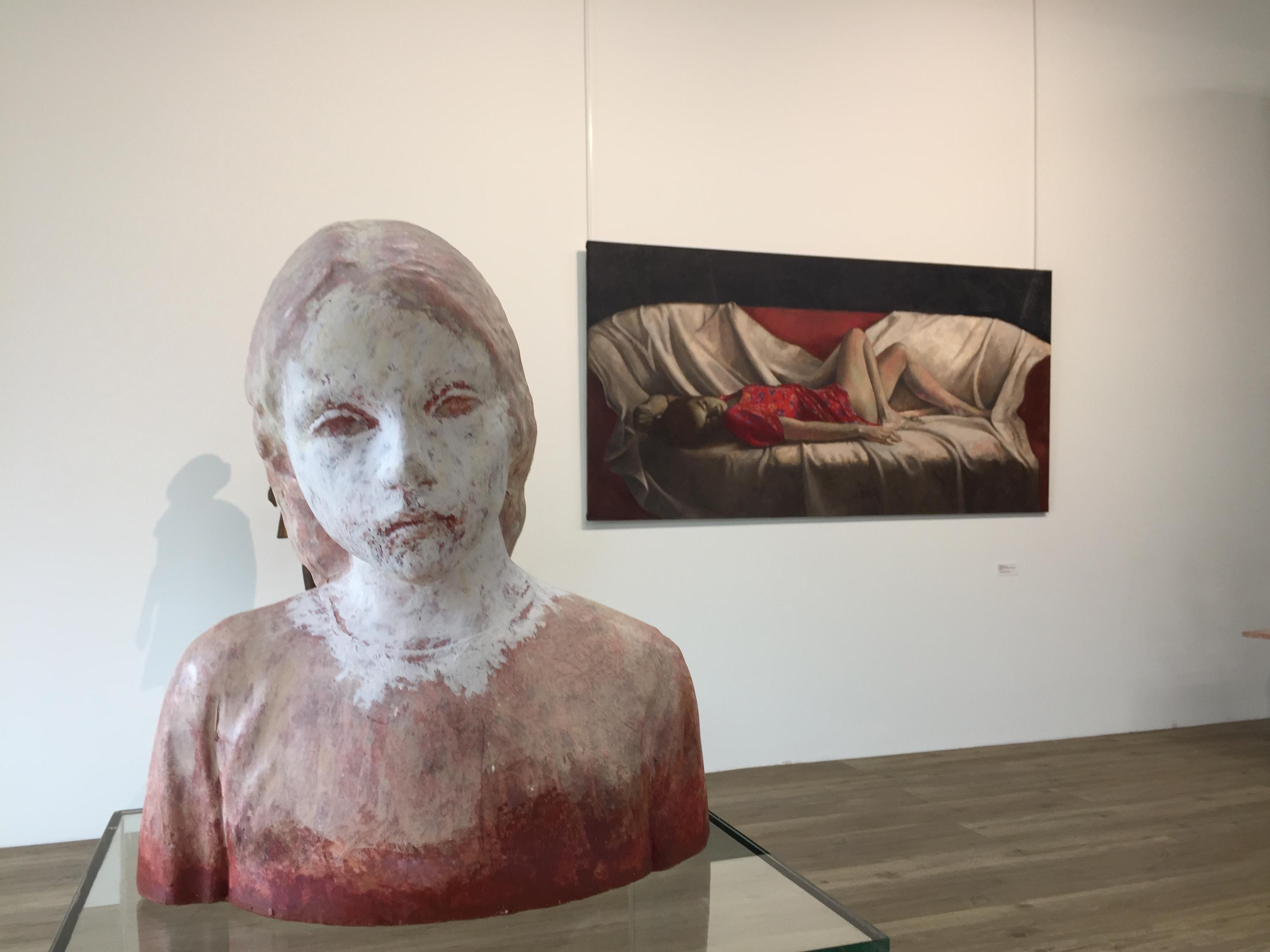 Girl, Head- 21st Century Contemporary Ceramic Sculpture of a Girl Head