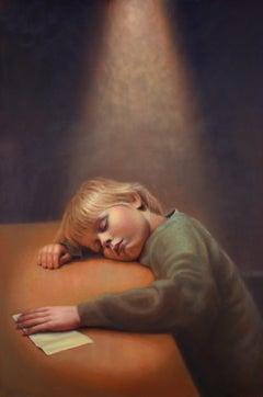 Little Secrets- 21st Century Contemporary Portrait Painting  a Young Boychild