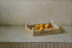 Casket with Pears- 21st Century Contemporary Still-life Painting