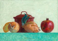 Red Jar and Onions -21st Century Contemporary Dutch Still-life Painting