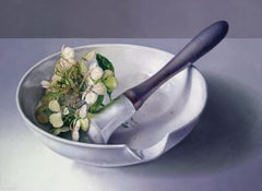 Mortar with Hydrangea - Adriana van Zoest 21st Century Contemporary Oil Painting