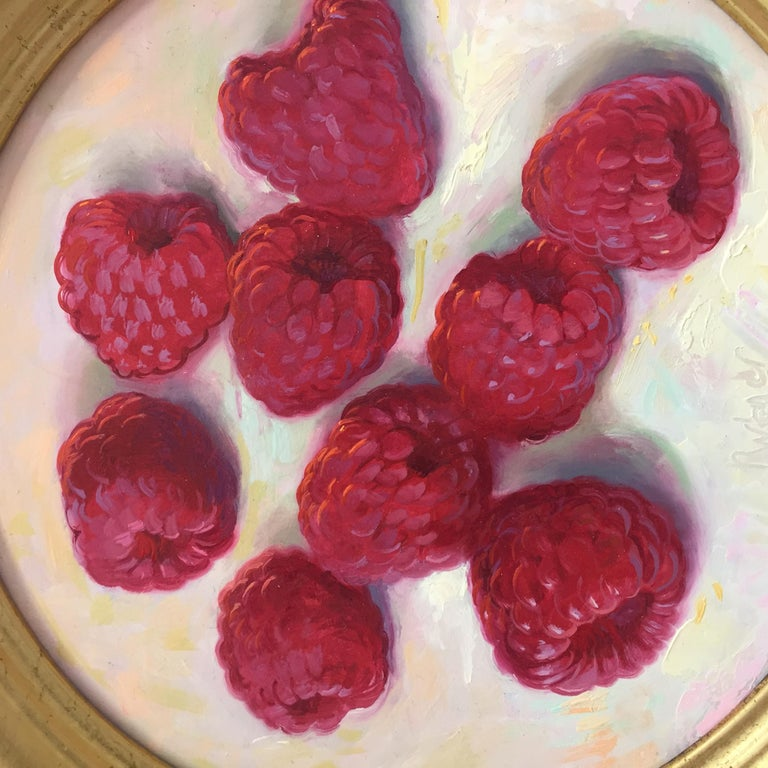 Raspberries- 21st Century Contemporary Still-life Painting by Dutch Painter - Brown Figurative Painting by Rutger Hiemstra