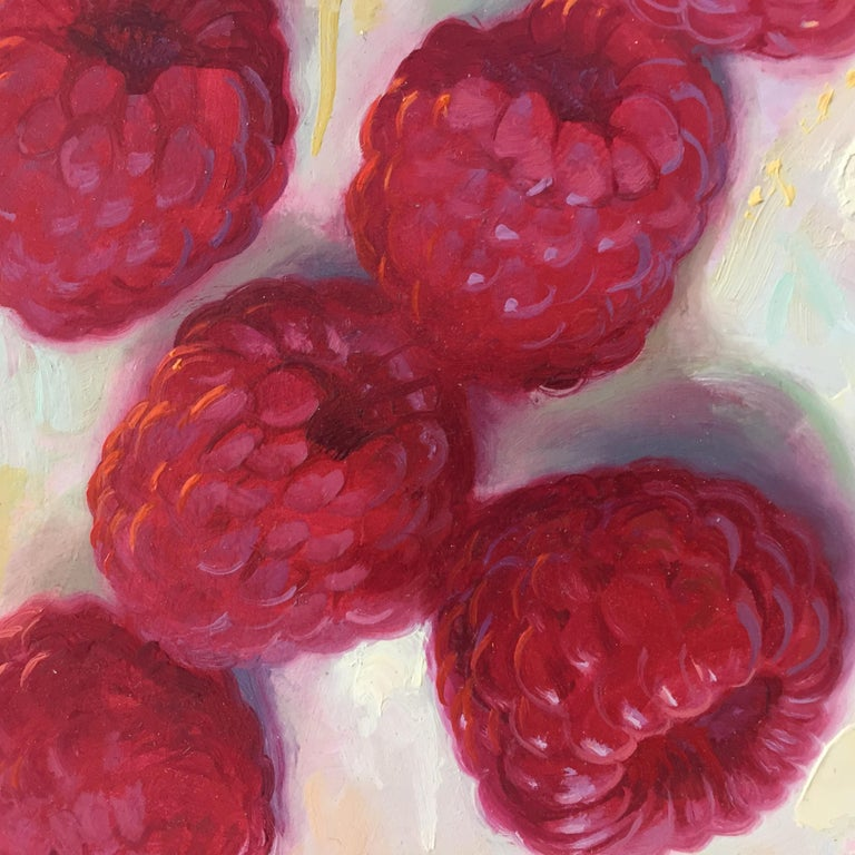 Raspberries- 21st Century Contemporary Still-life Painting by Dutch Painter For Sale 1