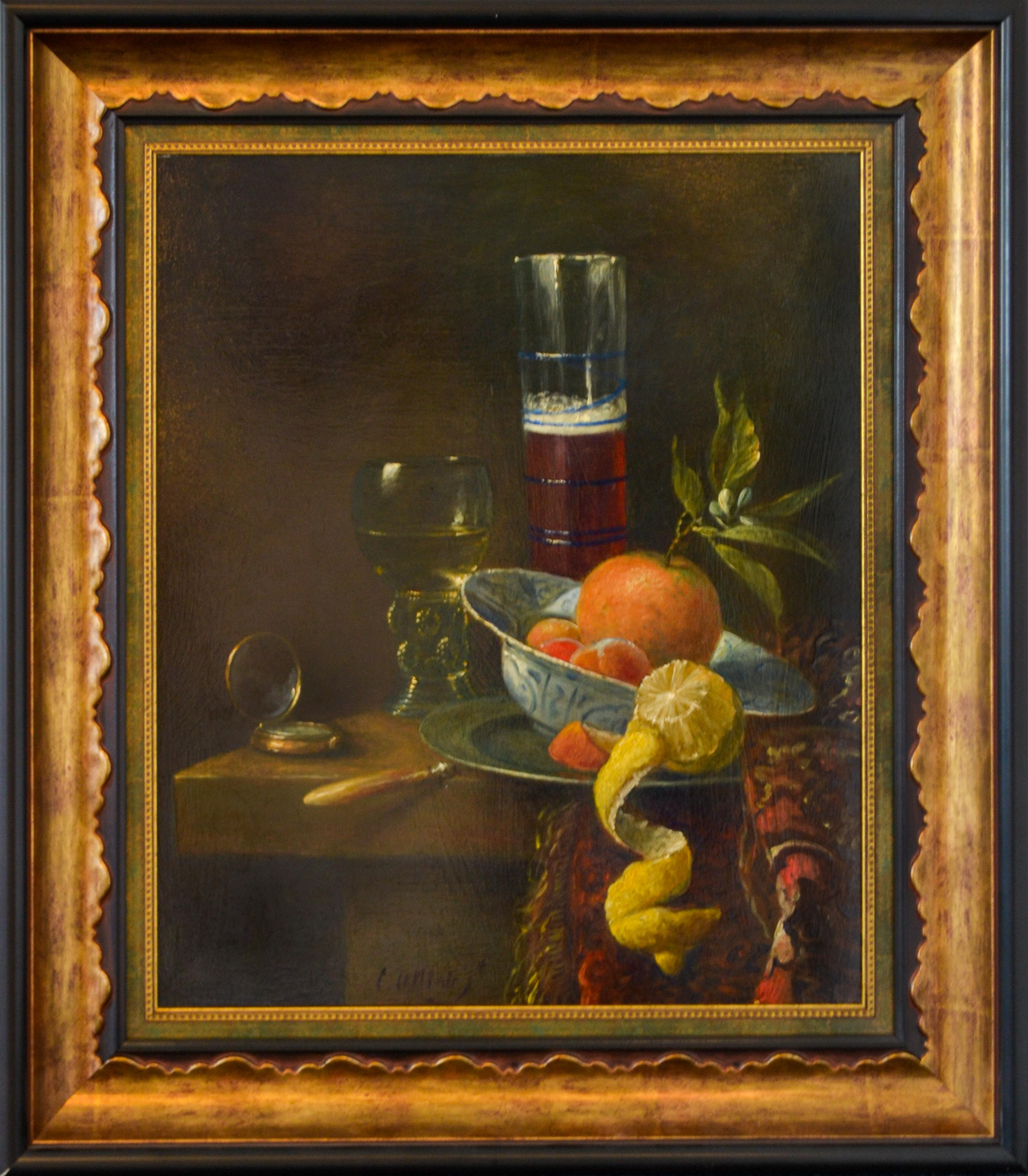 Peeled Lemon On The Table - Classic Style Oil Painting by Cornelis Le Mair