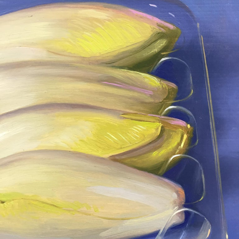 Chicory- 21st Century Contemporary Still-life Painting of vegetables in plastic For Sale 1