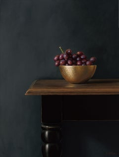 Red Grapes In Gold Bowl, Contemporary Acrylic Still-Life by Heidi Von Faber