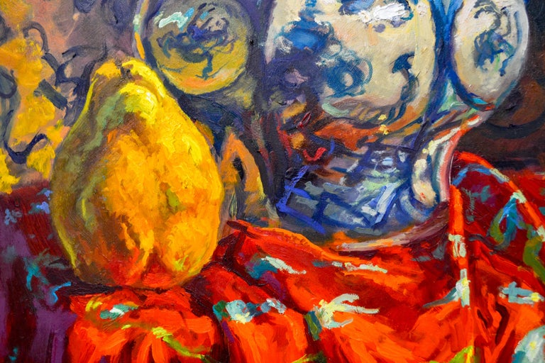 This Painting is made by Dutch Artist Keimpe van der Kooi. He likes to paint still-lifes in colorful ambiance. In his paintings there always will be cloths, bowls, flowers and a beautiful sunlight.  As an artist, he already made a name for himself