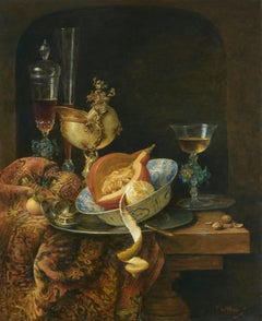 Still-Life with Nautulus Cup and Chinese Bowl with Pumpkin, by Cornelis le Mair