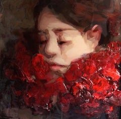 Red Collar - Portrait painting made of epoxy resin by Dutch artis Anne-Rixt Kuik