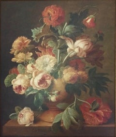 Flowers in a vase- 21st century still-life flower Painting in 17th Century style