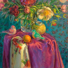 Birds and Flowers - Keimpe van der Kooi, 21st Century Still-Life by Dutch Artist