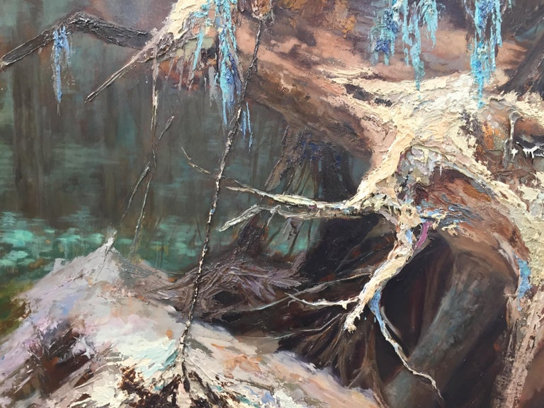 Treeroots-21st Century Landscape Oil Painting by Dutch painter Esther Schlebos For Sale 3