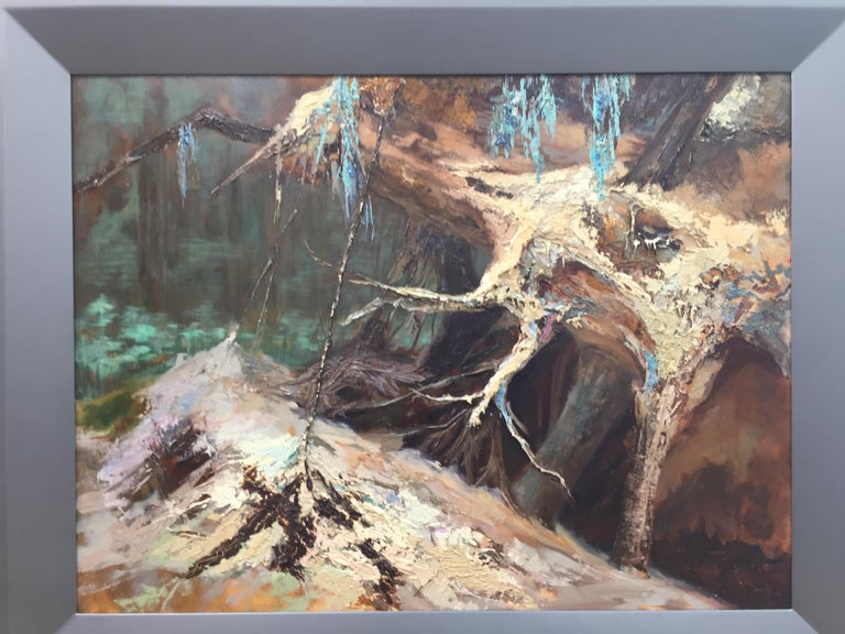 Treeroots-21st Century Landscape Oil Painting by Dutch painter Esther Schlebos For Sale 4