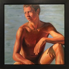 Boys keep Swinging IV- 21st Century Dutch Contemporary Nude Painting of a Boy