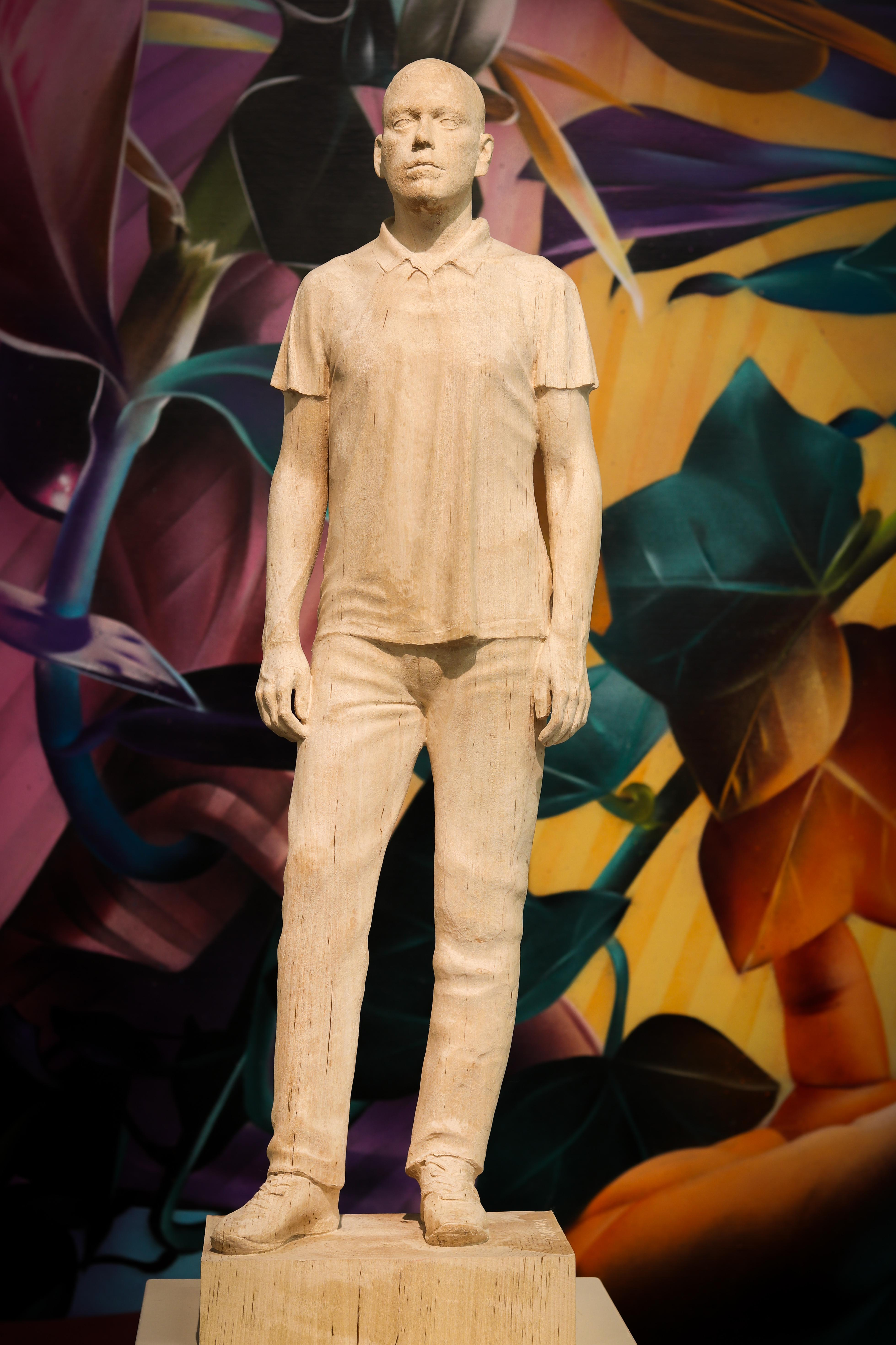 Man Standing, 21st Century Contemporary Wooden Sculpture by Pedro Quesada Sierra