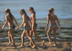 Beach Girls - 21st Century Contemporary Acrylic by Dutch artist Mitzy Renooy