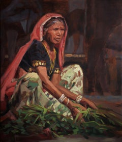 Greens - 21st Century Contemporary Painting: a woman selling vegetables in India