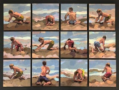 Beach Boys, 12 Small Acrylic Paintings in one frame by Dutch artist Mitzy Renooy