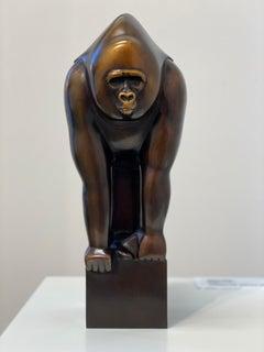 Gorilla- 21st Century Dutch Bronze sculpture of a Gorilla